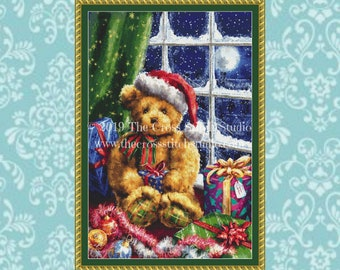 Christmas Teddy Bear Cross Stitch Pattern - LARGE, Christmas Gift, Embroidery Designs