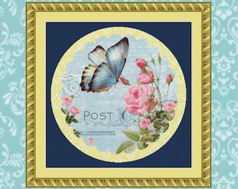 Butterfly and Roses #1 Cross Stitch Pattern