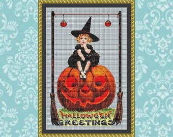 Pumpkin Girl Cross Stitch Pattern