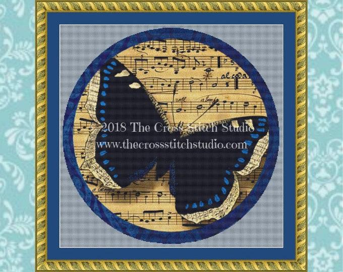 Musical Butterfly Cross Stitch Pattern