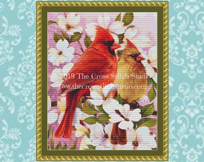 Mr & Mrs Cardinal Cross Stitch Pattern