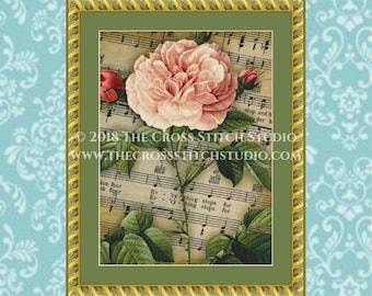 Rose Cross Stitch Pattern, Vintage Sheet Music, Floral Wall Art
