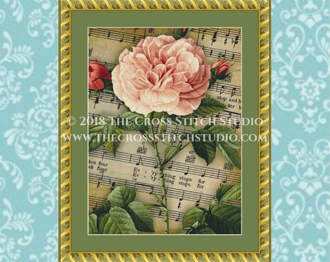Musical Rose Cross Stitch Pattern
