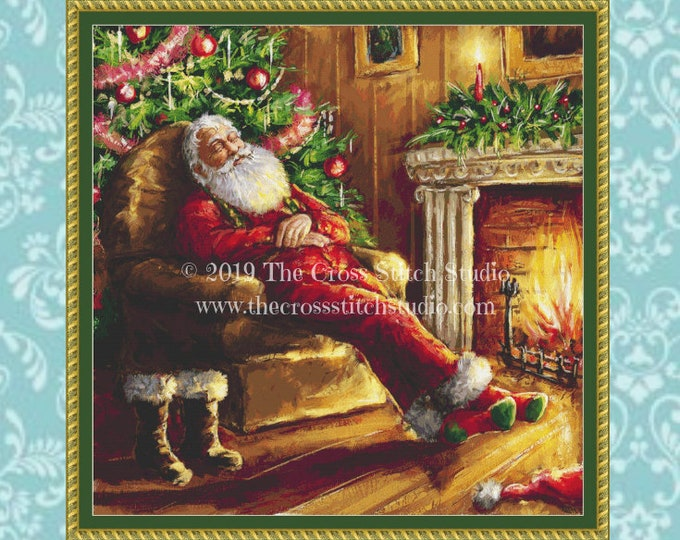 Santa Napping Cross Stitch Pattern