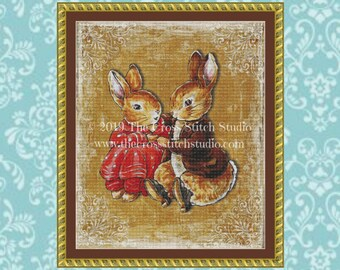 Peter Rabbit and Benjamin Bunny Cross Stitch Pattern