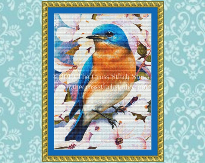 Bluebird in Dogwood Cross Stitch Pattern