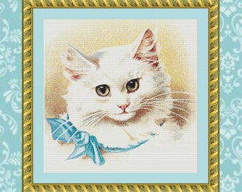 White Kitten Cross Stitch Pattern
