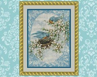 Bluebirds in Spring Cross Stitch Pattern
