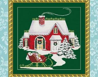 Christmas Cottage Cross Stitch Pattern