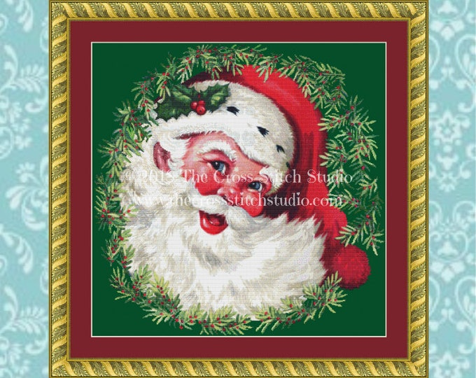 Santa in Wreath Cross Stitch Pattern