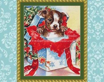 Dog Cross Stitch Pattern, Vintage Christmas Card
