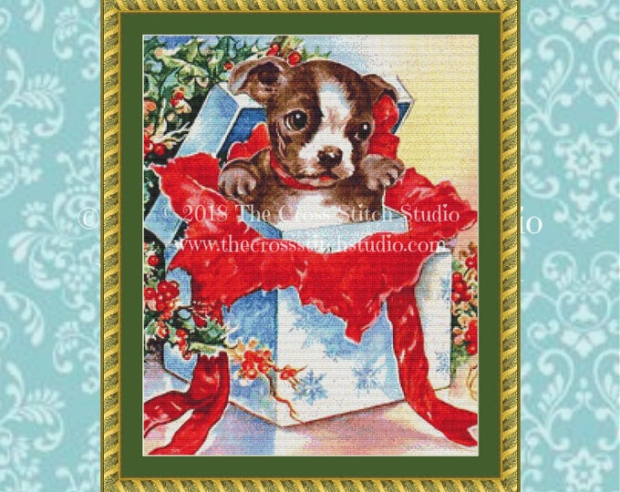 Christmas Puppy Cross Stitch Pattern