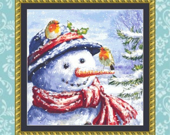 Snowman Cross Stitch Pattern, Vintage Christmas Decor
