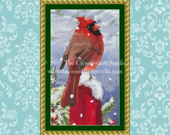 Cardinal Cross Stitch Pattern, Bird Embroidery Designs, Farmhouse Decor, Winter Decor
