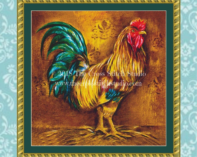Pop Art Rooster Cross Stitch Pattern
