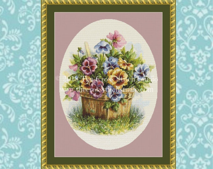 Basket of Pansies Cross Stitch Pattern