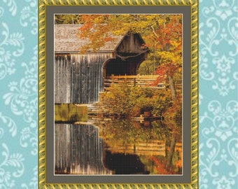 Covered Bridge Cross Stitch Pattern (Cropped)