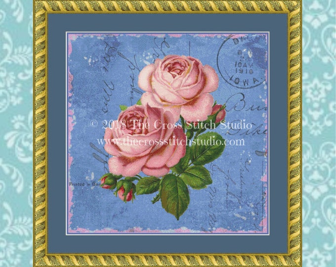 Shabby Roses on Blue Cross Stitch Pattern