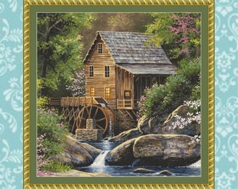 Spring Mill Cross Stitch Pattern (Cropped)