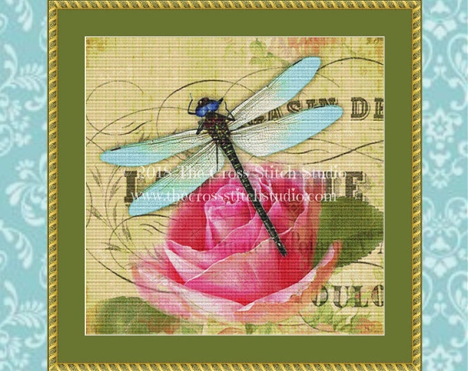 Dragonfly Rose Cross Stitch Pattern