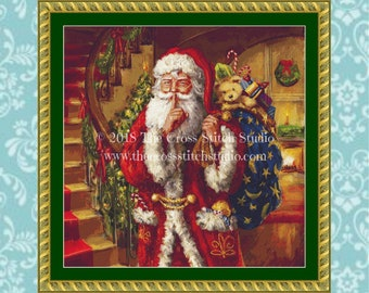 Santa Cross Stitch Pattern SMALL, Vintage Christmas Decor