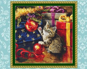 Kitten Under The Tree Cross Stitch Pattern
