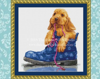 Dog Cross Stitch Pattern, Dog Lover Gift, Chew Toy