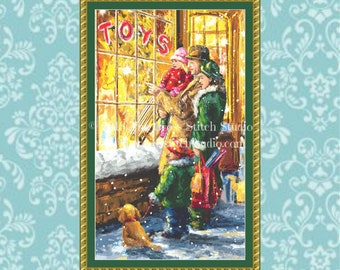 Christmas Cross Stitch Pattern, Vintage Toy Store