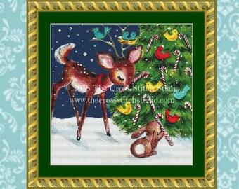Christmas Cross Stitch Pattern SMALL, Woodland Animals, Deer and Rabbit