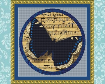 Musical Butterfly Cross Stitch Pattern