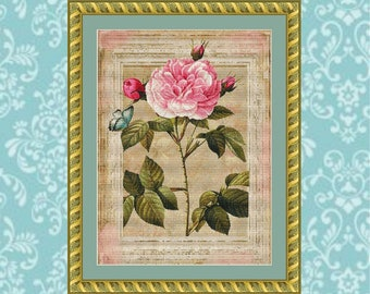 Framed Rose and Butterfly Cross Stitch Pattern