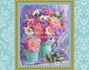 Vibrant Bouquets Cross Stitch Pattern