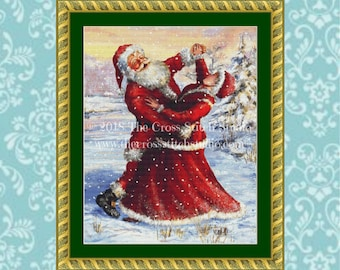 Santa Claus Cross Stitch Pattern, Mr and Mrs, Dancing, Vintage Christmas Decor