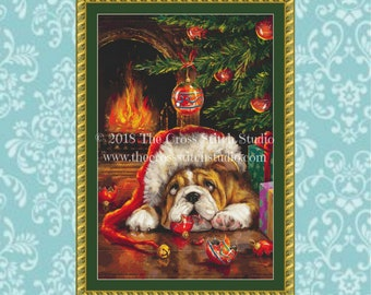 Bulldog Cross Stitch Pattern, Christmas Decor