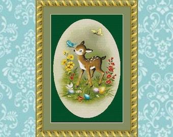Easter Deer Cross Stitch Pattern