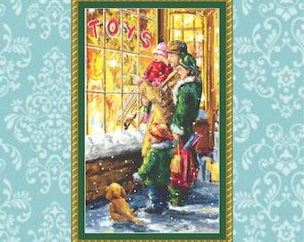 Christmas Window Shopping Cross Stitch Pattern