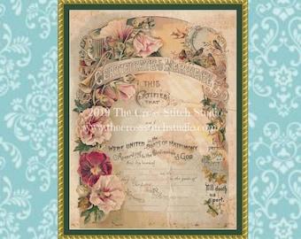 Victorian Marriage Certificate Cross Stitch Pattern BLANK