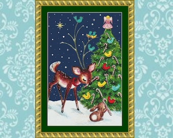 Fawn and Bunny Christmas Cross Stitch Pattern