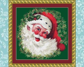 Santa in Wreath Cross Stitch Pattern