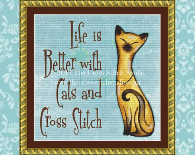Cats and Cross Stitch Pattern