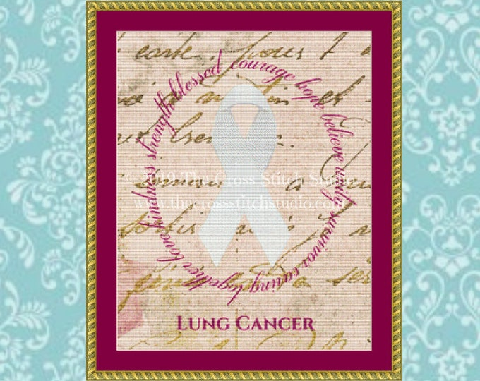 Lung Cancer Ribbon Cross Stitch Pattern