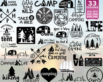 Camping SVG, Camper SVG, Summer SVG, Happy Camper svg, Camping Clipart, Camp svg, Camp svg Files, I'd Rather Be Camping, Camping Cut Files
