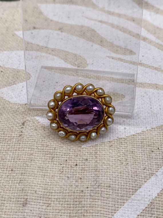 14k Gold Amethyst and Pearl Brooch Pendant