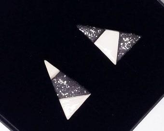 Triangle stud earrings, asymmetric ceramic earrings, triangle ceramic earrings, matte creramic earrings, ceramic earrings with silver posts