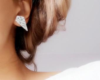 Modern white earrings, Modern white minimalist geometric studs, White geometric statement earrings, Geometric earring set of 3, ceramic stud
