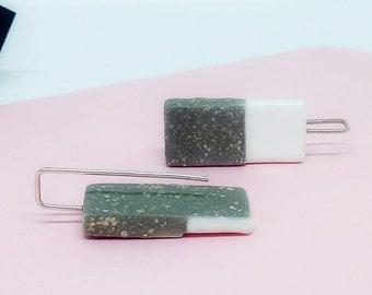 Ceramic rectangular earrings, Rectangular dangle earrings, Geometric dangle earrings, Rectangle dangle silver earrings, Ceramic earrings