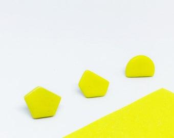 Modern yellow earrings, Modern yellow minimalist studs, Yellow geometric statement earrings, Geometric earring set of 3, Yellow clay studs