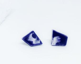 Modern Blue Stud Earrings, Blue Minimalist Geometric Studs, Blue Geometric Statement Earrings, Blue ceramic studs, Blue Square Stud Earrings