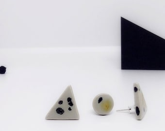 Geometric earrings, ceramic earrings, triangle stud earrings set, geometric ceramic earrings set, mix trio stud set, stylish stud earrings