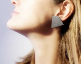 Polygon Stud Earrings, Black Geometric Stud Earrings, Black Ceramic Stud Earrings, Modern Black Matte Earrings, Black Square Stud Earrings